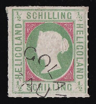 HELIGOLAND 1867 QV Embossed ½sch RARE GENUINE USED WITH CERTIFICATE