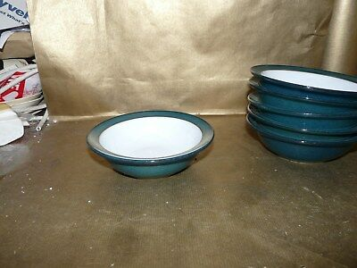 """denby greenwich small rimmed cereal / fruit / soup bowl 6.25"""" diameter"""