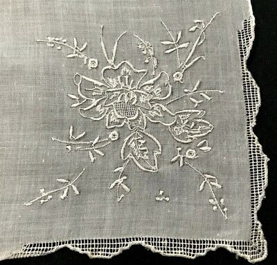 "Adorable Linen Vintage Bridal Hand Embroidered Handkerchief 12 1/4""SQ"