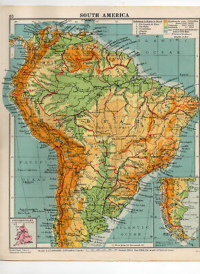 C1930 Antique Map Of South America George Philip & Sons