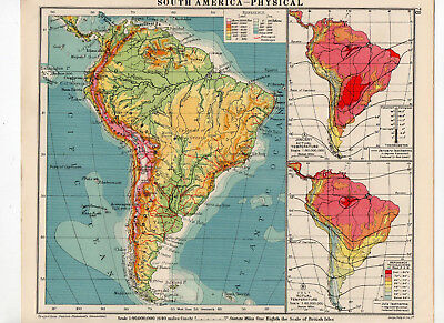 C1930 Antique Map Of South America Physical George Philip & Sons