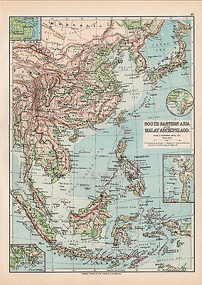C1894 Antique Map Of South Eastern Asia Malay Archipelago