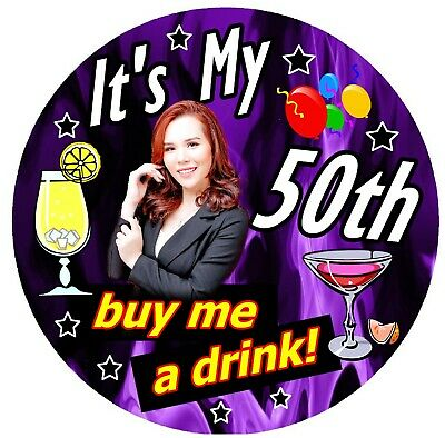 50th PURPLE FUN BIRTHDAY BADGE (BUY ME A DRINK) - PERSONALISED, AGE, PHOTO / NEW