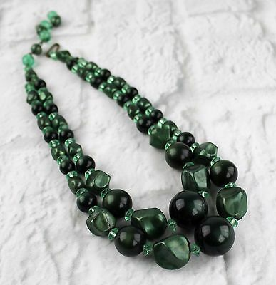 Vintage Double Strand Green Lucite Plastic Bead Choker Necklace