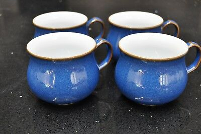 Denby Pottery Imperial Blue SET OF 4 CUPS - great condition