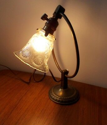 Art Deco Bauhaus Glass Brass Desk Nightstand Bedside Lamp Light 1930s German