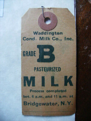 Waddington Condensed Milk Co Bridgewater Ny Milk Can/crate Shipping Tag