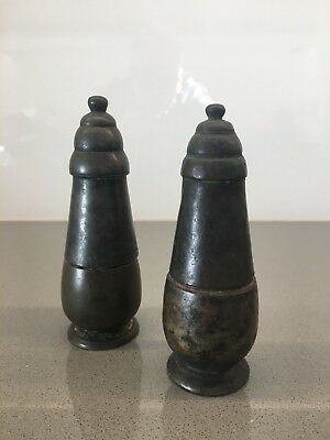 Cambodian Bronze Lime Bronze Khmer Containers (Height 5.5 & 5.25 inches)