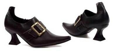 Victorian Trading Co Frumpy Black Witch Shoes Gold Buckle sz 6 Free Ship NIB