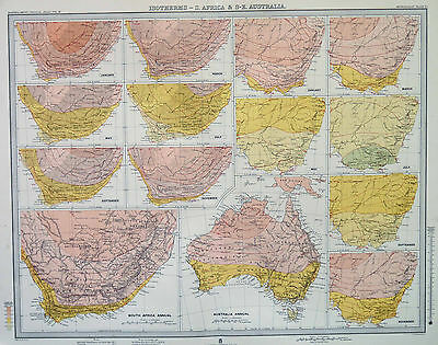 Map of Australia & Africa Isotherms Large 1899 Original Antique