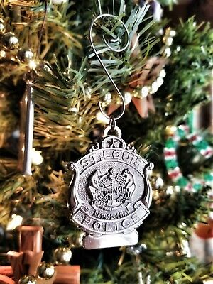 "2"" nickel plated St. Louis Police Badge Christmas Ornament"