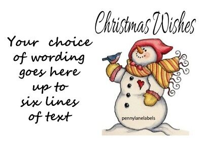 Christmas Wishes Snowman Personalised Craft/gift Sticky Address Labels Stickers