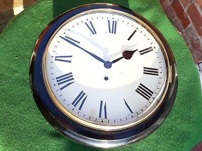 """#068 Antique Ebonised 12"""" Spring Wound Dial Wall Clock"""