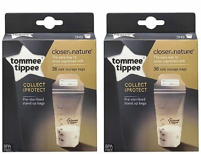 Tommee Tippee 36 Pre Sterilised Stand Up Milk Storage Bags x 2 Boxes = 72 Bags