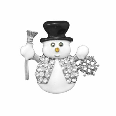 Snowman Fashion Lapel Pin Brooch with Crystals