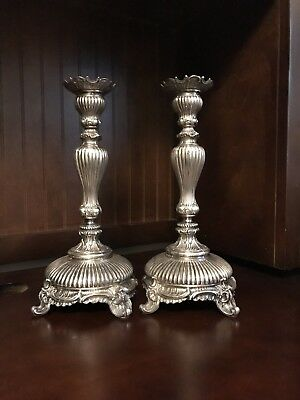 Antique Solid Silver Pair Of  Candlesticks - 550 Gram Total