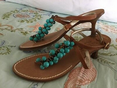 a104822fec3de1 Miss Trish of Capri Thong Sandals 37.5 7.5 Italy Leather Aqua turquoise  Beaded