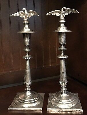 Antique Solid Silver Pair Of  Candlesticks - 760 Gram Total