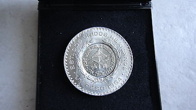JOHANNES PAUL Gegenstempel Countermark PAPAL 1979 MEXICO PAPSTBESUCH 1 PESO 1964