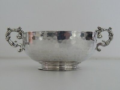 Arts & Crafts Solid Silver hammered Bon Bon Bowl by Nathan & Hayes Chester 1897