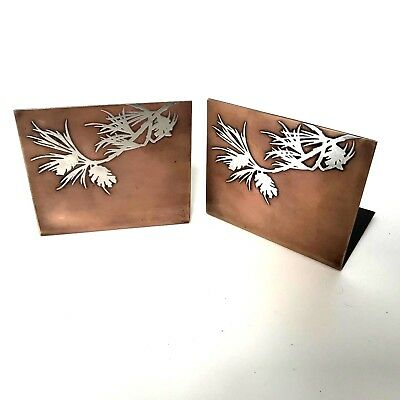 Heintz Arts & Crafts Bookends Sterling Silver on Bronze Pine Cone