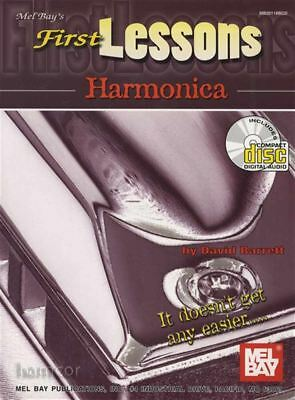 First Lessons Harmonica Learn How to Play Beginner Method Music Book & CD