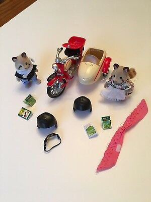 Sylvanian Families Motorcycle And Sidecar – Complete And In Original Box