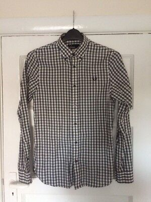 Fred Perry Black And White Gingham Shirt XS Pretty Green Ben Sherman Doc Martens