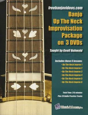 Banjo Up The Neck Improvisation Package TAB Book with 3 DVDs Learn How To Play 5