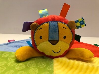 TAGGIES LION Patchkin Baby Lovey Security Blanket Plush Red Blue Green Yellow