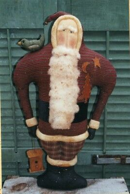 PATTERN-PRIMITIVE SANTA & BIRD-AWESOME! The COUNTRY CUPBOARD