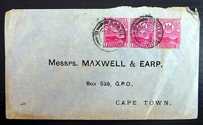 SOUTH AFRICA CAPE of GOOD HOPE 1894 Local Cover with 3 x 1d Small Faults BG603