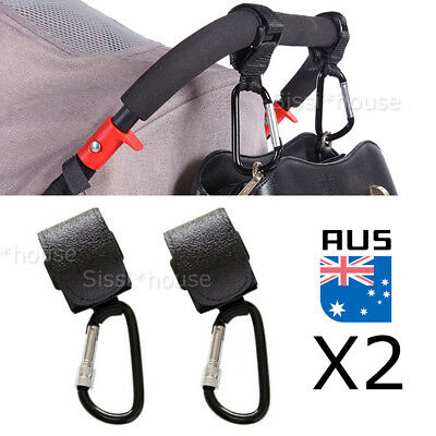 2PCS PRAM HOOK Baby Stroller Shopping Bag Clip Carrier Carabiner Large Hangers A