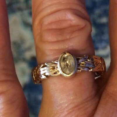 Byzantine Style 14K Gold Clad Technibond Band Ring Size 9 with Clear Quartz