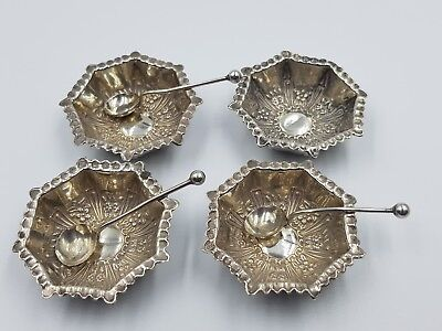 4 X Silver Salt Pots with Spoons Dated 1899 By William Devenport