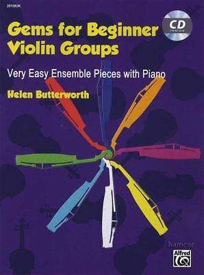 Gems for Beginner Violin Groups Music Book/CD Very Easy Ensemble Pieces & Piano