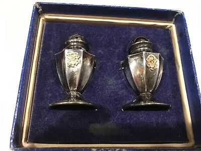 WWII Sterling Army Officer Salt and Pepper Shakers Set With US ARMY Shield & Box