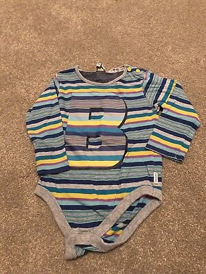 Ted Baker Baby Boys Grey Multi Striped Long Sleeved Vest Top Age 12-18 Months