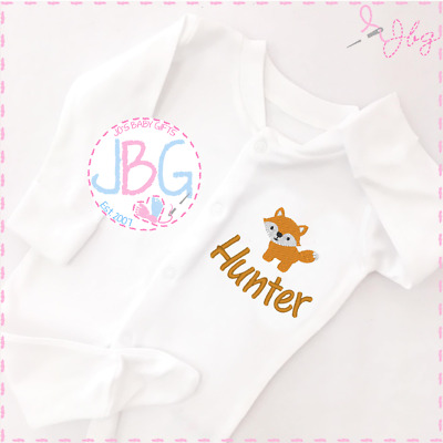 Personalised Baby Fox Sleepsuit Unisex, Embroidered Design, New arrival Clothes