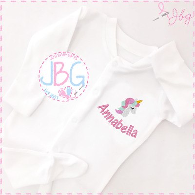 Personalised Baby Unicorn Sleepsuit Unisex, Embroidered Design, Girl clothes