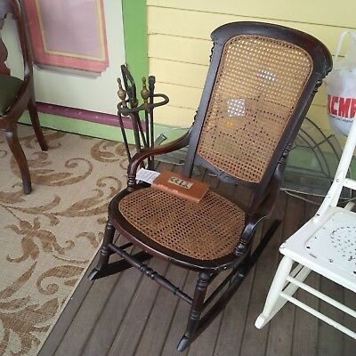 Antique American Victorian Cane Rocking Chair, quality is in the details
