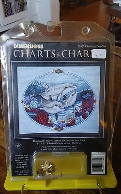 Vtg Rare Dimensions 72427 Charts & Charms Charming Dolphins cross stitch NEW