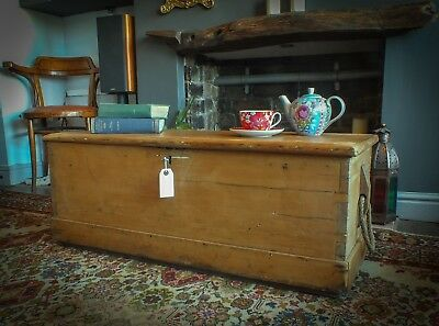 Antique pine chest, blanket box, trunk, coffee table, working lock and key
