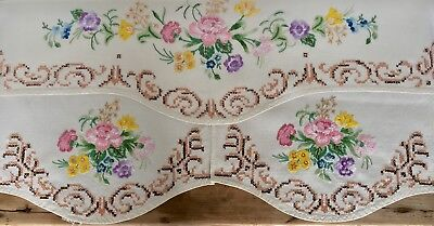 Vintage Linen Heavily Hand Embroidered Chair Covers Country Garden Flowers