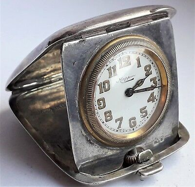 Antique Solid Silver Folding Swiss Movement Travel Clock Hallmarked London 1927