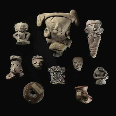 Antique old collection of 10 pre-Columbian pottery artefacts statues amulets etc