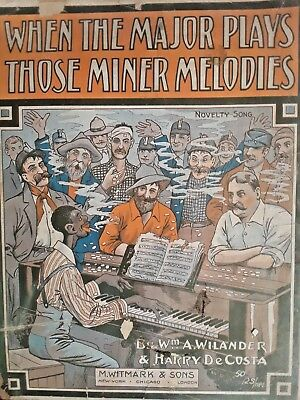 Antique! Black Americana Sheet Music Cover Major Plays Those Miner Melodies NR