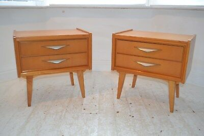 Stunning Pair Vintage Italian Beech Bedside Chests Tables