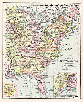 Map Of Eastern Untied States Antique Original Printed 1880s
