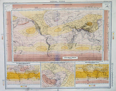 Map of The World Isobars Large 1899 Original Antique